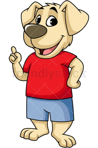 Dog cartoon character pointing up. PNG - JPG and vector EPS (infinitely scalable). Image isolated on transparent background.