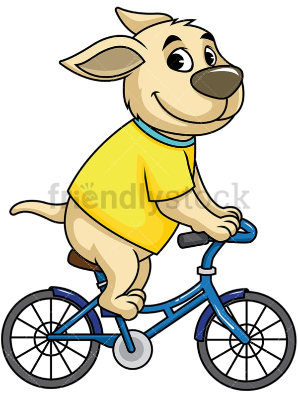 Dog cartoon character riding bike. PNG - JPG and vector EPS (infinitely scalable). Image isolated on transparent background.