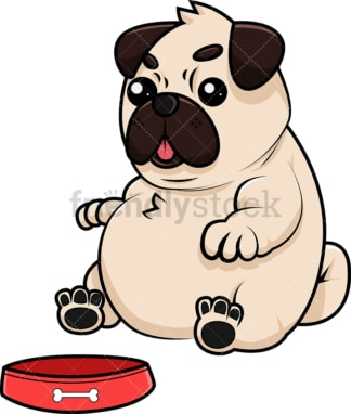 Fat pug eating from bowl. PNG - JPG and vector EPS (infinitely scalable). Image isolated on transparent background.