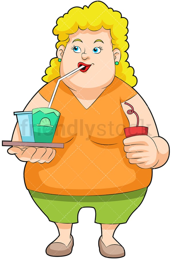 Overweight woman enjoying soft drinks. PNG - JPG and vector EPS (infinitely scalable). Image isolated on transparent background.