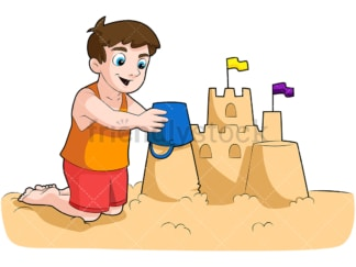 Little boy building sandcastle. PNG - JPG and vector EPS (infinitely scalable). Image isolated on transparent background.