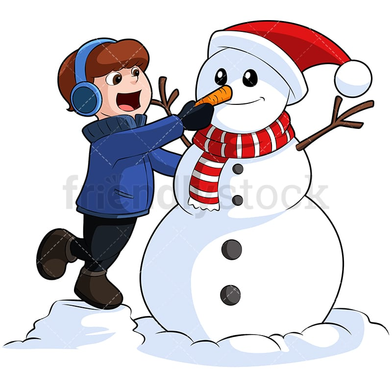 little boy building snowman cartoon vector clipart