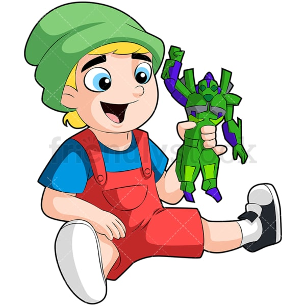 Little boy playing with robot toy. PNG - JPG and vector EPS (infinitely scalable). Image isolated on transparent background.