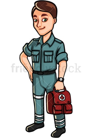 Medical man holding first aid kit. PNG - JPG and vector EPS file formats (infinitely scalable). Image isolated on transparent background.
