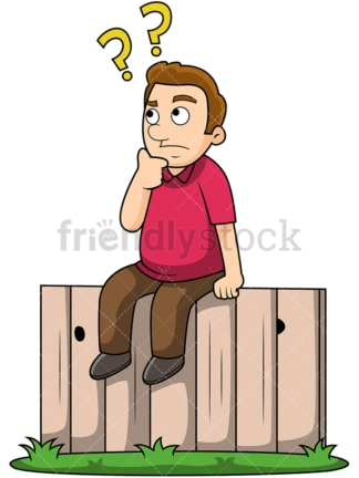 Man sitting on the fence. PNG - JPG and vector EPS file formats (infinitely scalable). Image isolated on transparent background.