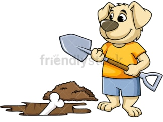 Dog character digging up bone. PNG - JPG and vector EPS (infinitely scalable). Image isolated on transparent background.