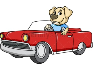 Dog character driving car. PNG - JPG and vector EPS (infinitely scalable). Image isolated on transparent background.
