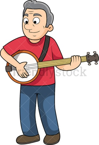 Old man banjo player. PNG - JPG and vector EPS file formats (infinitely scalable). Image isolated on transparent background.