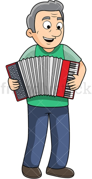 Old man playing accordion. PNG - JPG and vector EPS file formats (infinitely scalable). Image isolated on transparent background.