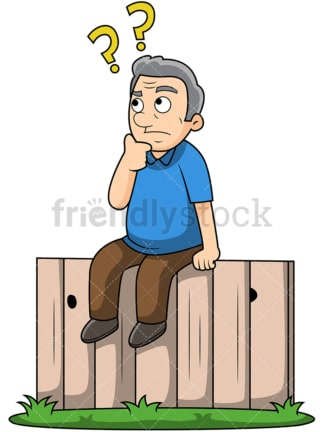 Old man sitting on the fence. PNG - JPG and vector EPS file formats (infinitely scalable). Image isolated on transparent background.