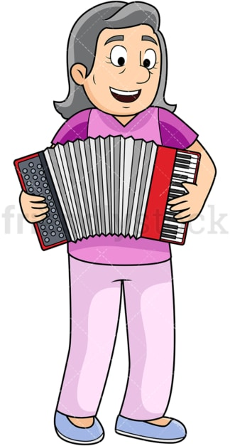 Old woman playing accordion. PNG - JPG and vector EPS file formats (infinitely scalable). Image isolated on transparent background.