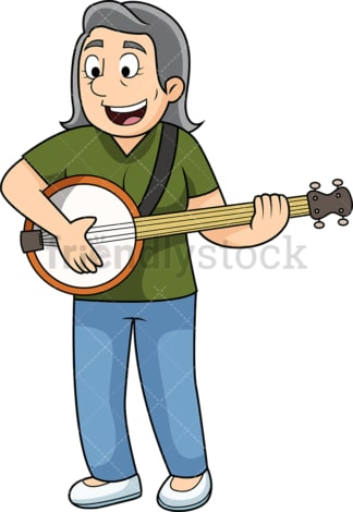 Old woman playing the banjo. PNG - JPG and vector EPS file formats (infinitely scalable). Image isolated on transparent background.