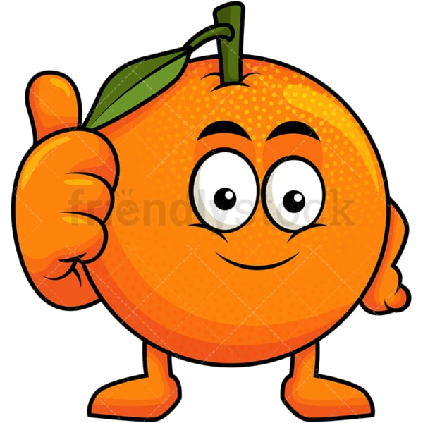 Orange cartoon character thumbs up. PNG - JPG and vector EPS (infinitely scalable). Image isolated on transparent background.