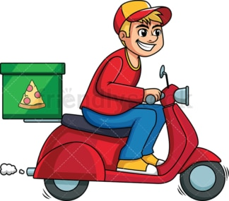 Pizza delivery guy driving scooter. PNG - JPG and vector EPS (infinitely scalable). Image isolated on transparent background.