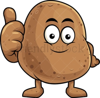 Potato cartoon character thumbs up. PNG - JPG and vector EPS (infinitely scalable). Image isolated on transparent background.