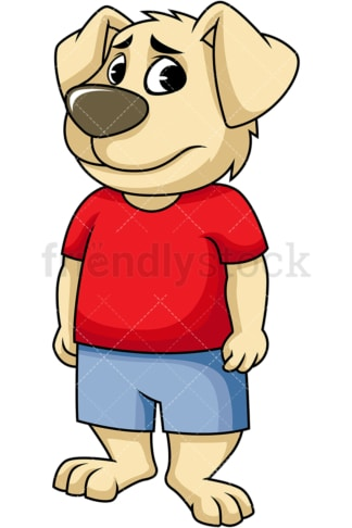 Sad dog cartoon character. PNG - JPG and vector EPS (infinitely scalable). Image isolated on transparent background.