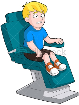 Scared little kid at the dentist. PNG - JPG and vector EPS (infinitely scalable). Image isolated on transparent background.