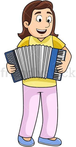 Woman playing accordion. PNG - JPG and vector EPS file formats (infinitely scalable). Image isolated on transparent background.