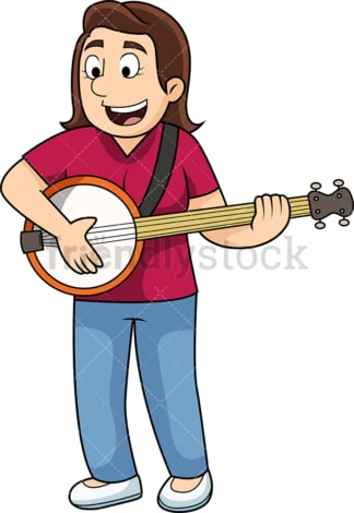 Woman playing the banjo. PNG - JPG and vector EPS file formats (infinitely scalable). Image isolated on transparent background.