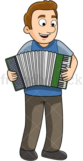 Man playing the accordion. PNG - JPG and vector EPS file formats (infinitely scalable). Image isolated on transparent background.