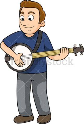 Young man playing the banjo. PNG - JPG and vector EPS file formats (infinitely scalable). Image isolated on transparent background.
