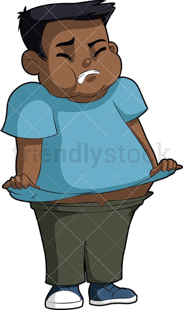 Fat black boy. PNG - JPG and vector EPS file formats (infinitely scalable). Image isolated on transparent background.