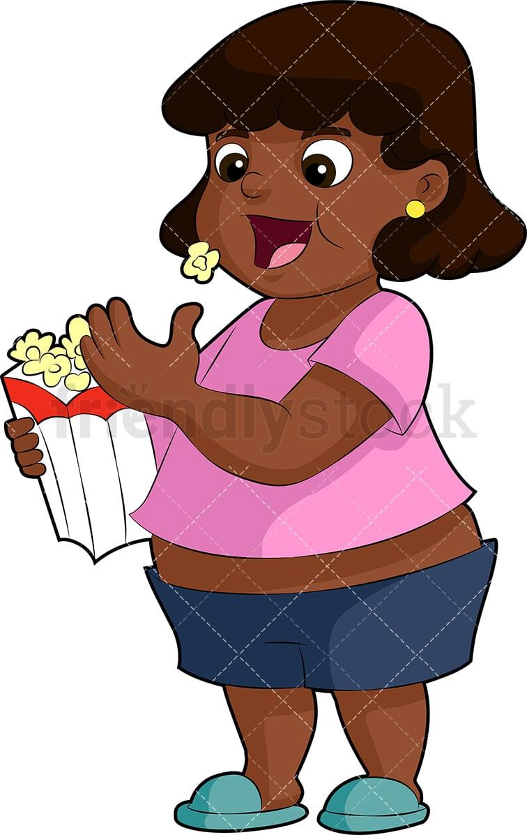 Chubby Black Girl Eating Popcorn Cartoon Vector Clipart ...