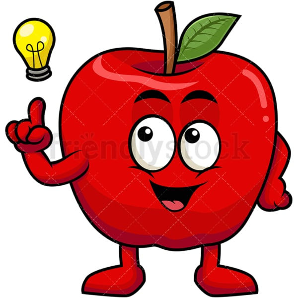 Apple cartoon character having an idea. PNG - JPG and vector EPS (infinitely scalable). Image isolated on transparent background.