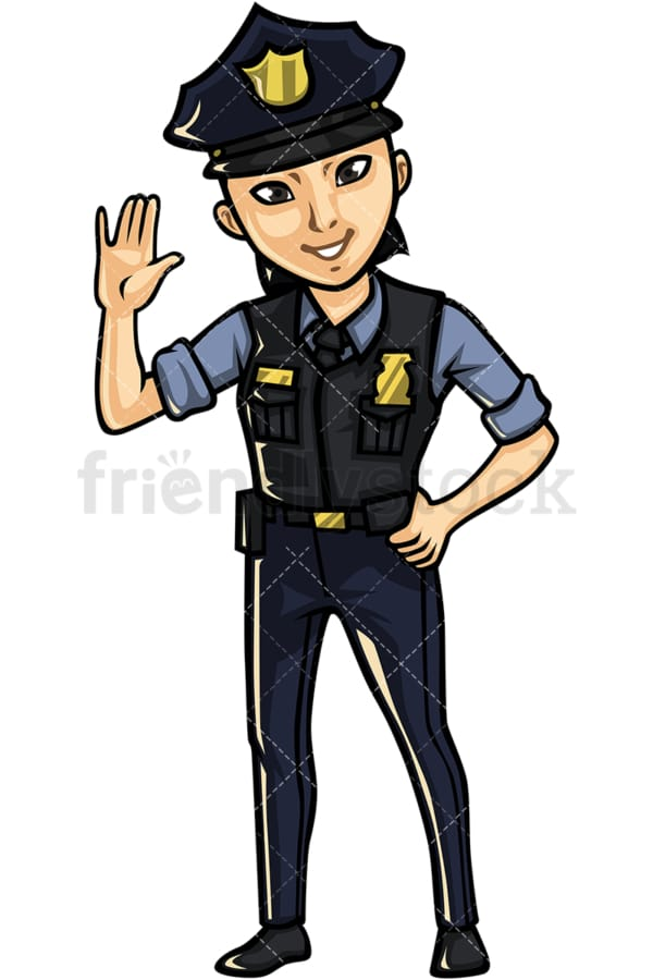 Asian female police officer. PNG - JPG and vector EPS file formats (infinitely scalable). Image isolated on transparent background.