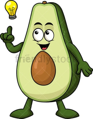 Avocado cartoon character having an idea. PNG - JPG and vector EPS (infinitely scalable). Image isolated on transparent background.