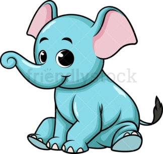 Baby blue elephant. PNG - JPG and vector EPS (infinitely scalable). Image isolated on transparent background.
