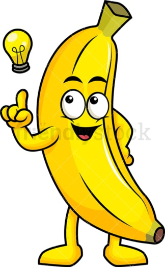 Banana cartoon character having an idea. PNG - JPG and vector EPS (infinitely scalable). Image isolated on transparent background.