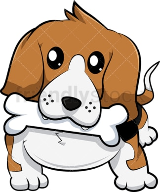 Beagle dog fetching bone. PNG - JPG and vector EPS (infinitely scalable). Image isolated on transparent background.