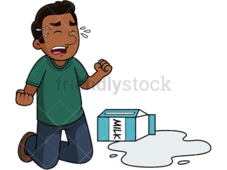 Black guy cries over spilt milk. PNG - JPG and vector EPS file formats (infinitely scalable). Image isolated on transparent background.