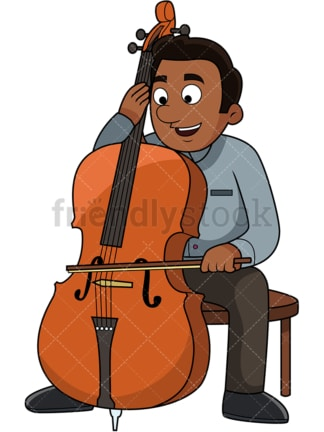 Black guy playing the cello. PNG - JPG and vector EPS file formats (infinitely scalable). Image isolated on transparent background.