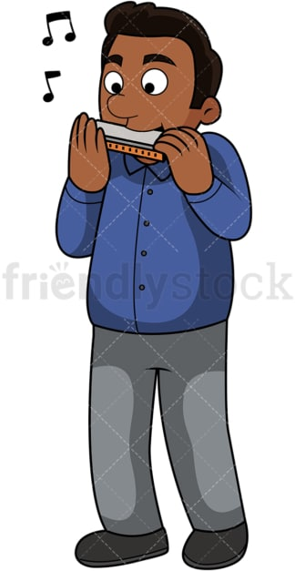 Black guy playing the harmonica. PNG - JPG and vector EPS file formats (infinitely scalable). Image isolated on transparent background.