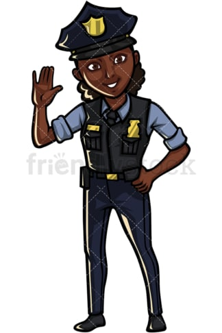 African American female police officer. PNG - JPG and vector EPS file formats (infinitely scalable). Image isolated on transparent background.