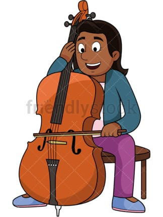 Black woman playing the cello. PNG - JPG and vector EPS file formats (infinitely scalable). Image isolated on transparent background.