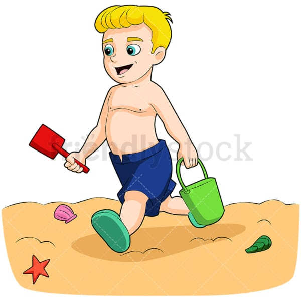 Boy playing on the beach. PNG - JPG and vector EPS (infinitely scalable). Image isolated on transparent background.