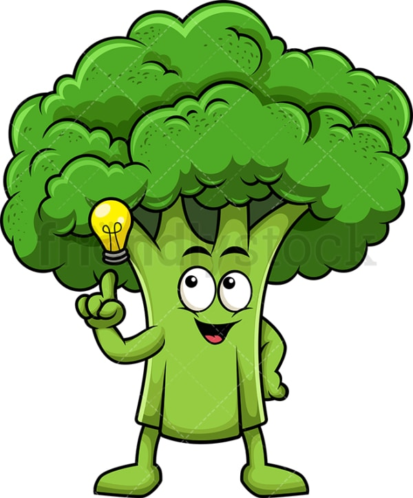 Broccoli cartoon character having an idea. PNG - JPG and vector EPS (infinitely scalable). Image isolated on transparent background.