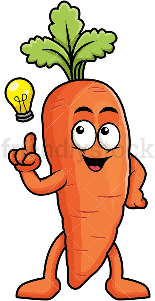 Carrot cartoon character having an idea. PNG - JPG and vector EPS (infinitely scalable). Image isolated on transparent background.