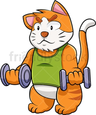 Cat cartoon character lifting weights. PNG - JPG and vector EPS (infinitely scalable). Image isolated on transparent background.