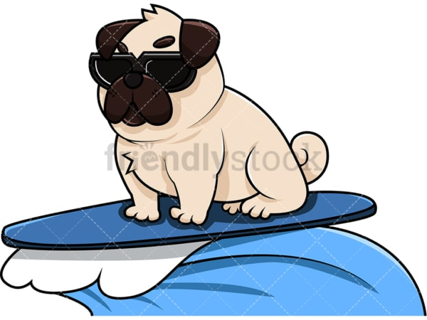 Cool pug dog surfing. PNG - JPG and vector EPS (infinitely scalable). Image isolated on transparent background.