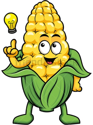 Maize cartoon character having an idea. PNG - JPG and vector EPS (infinitely scalable). Image isolated on transparent background.