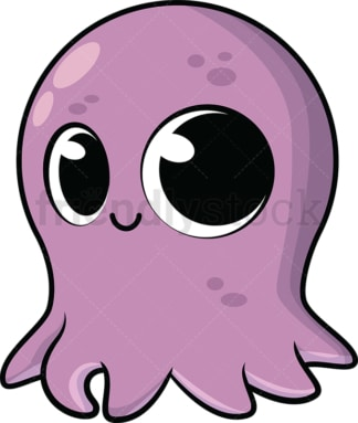 Adorable baby octopus. PNG - JPG and vector EPS (infinitely scalable). Image isolated on transparent background.