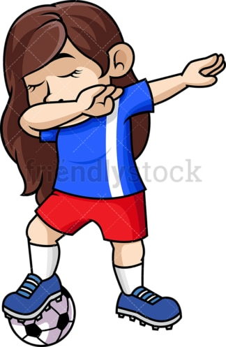 Soccer girl doing the dab. PNG - JPG and vector EPS file formats (infinitely scalable). Image isolated on transparent background.