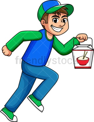 Delivery boy holding chinese food box. PNG - JPG and vector EPS (infinitely scalable). Image isolated on transparent background.