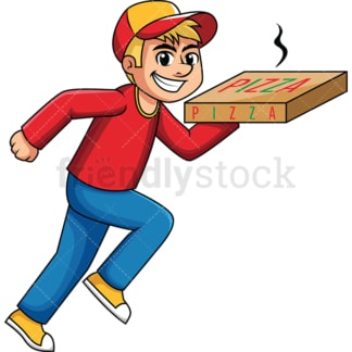 Delivery boy holding hot pizza box. PNG - JPG and vector EPS (infinitely scalable). Image isolated on transparent background.