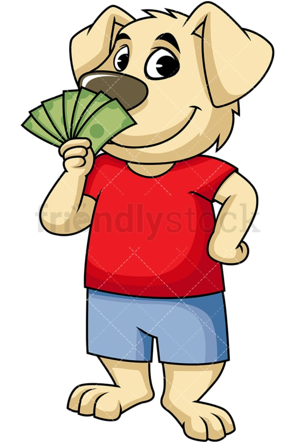 Dog cartoon character holding money. PNG - JPG and vector EPS (infinitely scalable). Image isolated on transparent background.