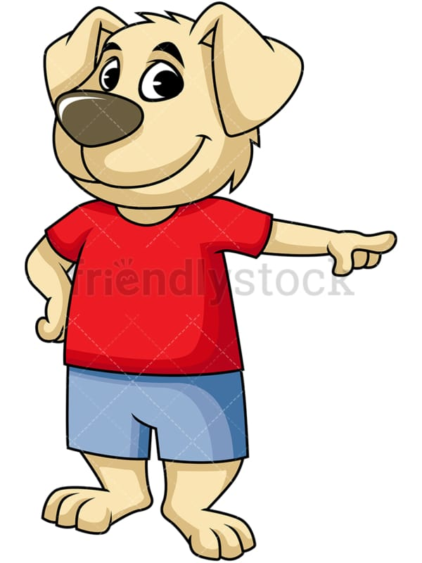 Dog cartoon character pointing right. PNG - JPG and vector EPS (infinitely scalable). Image isolated on transparent background.